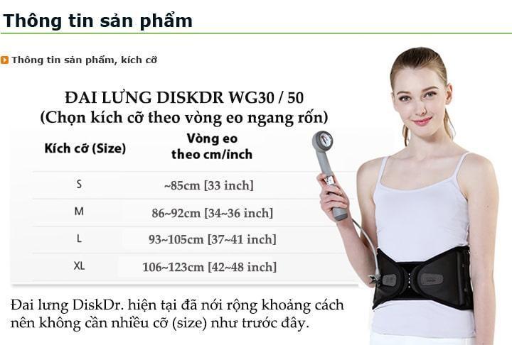 Kích cỡ, màu sắc, trọng lượng đai điều trị đau lưng DiskDr WG-30