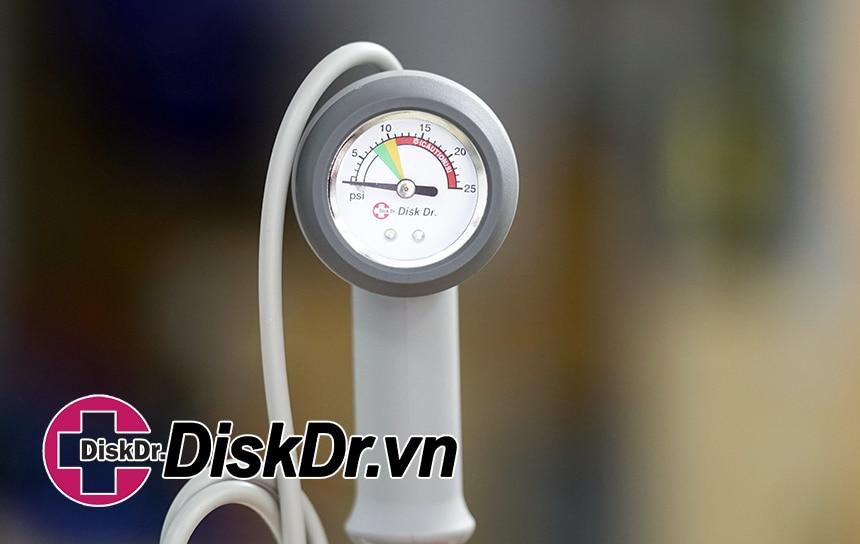 Đai lưng, Đai cổ DiskDr. có bơm tay đi kèm đồng hồ hiển thị áp suất theo màu sắc