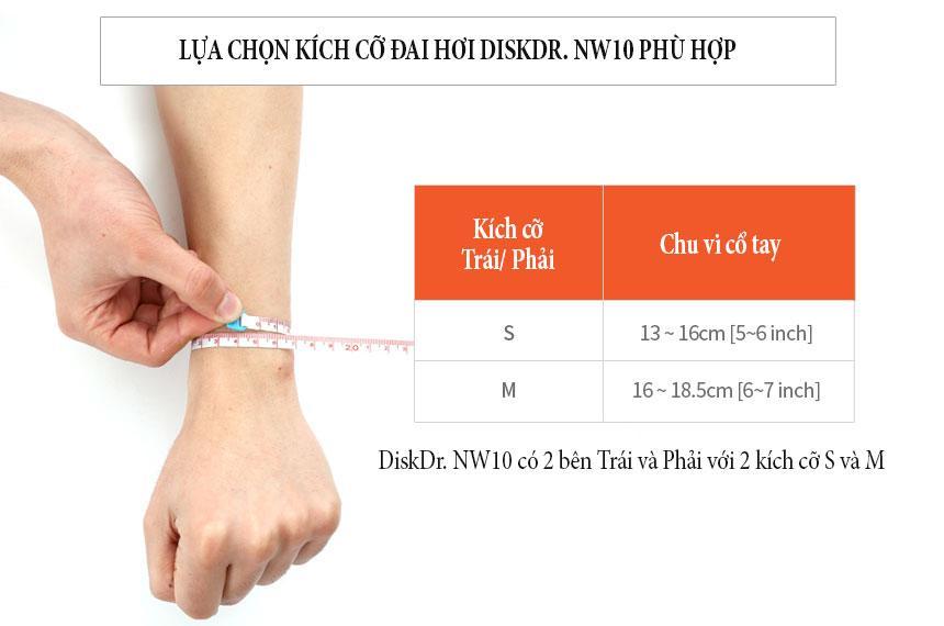 Cách lựa chọn kích cỡ đai cổ tay diskdr nw10