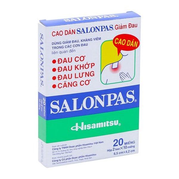 Miếng dán salonpas điều trị thoát vị đĩa đệm