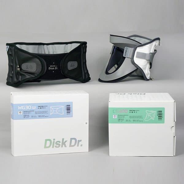 Ảnh thực tế Bộ sản phẩm đai cột sống thoát vị đĩa đệm DiskDr. WG30G2 và đai cổ DiskDr. CS300