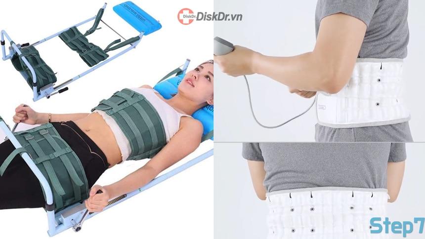 Có thể kéo giãn cột sống bằng máy hoặc bằng đai kéo giãn